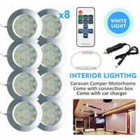 8X 12V Interior LED Spot Lights Campervan Caravan+Remote Control Dimmer Switch