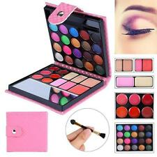 32 Colors Shimmer Eyeshadow Eye Shadow Palette Makeup Cosmetic Brush Set Pink BT