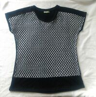 Dolcezza Size L Fishnet Top TShirt Black White Lined Club Party Canada European