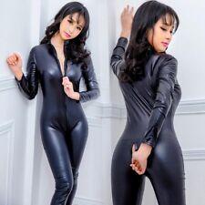 Plus Women Sexy Faux Leather Wet Look Vinyl Catsuit Bodysuit Jumpsuit Clubwear