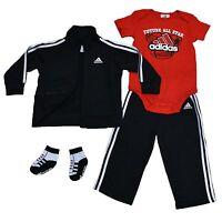 Adidas Kids Track Suit Boy Toddler Four Piece Set Jacket Pants Shirt Socks Cb003