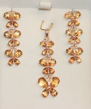 14k Solid Gold Butter Fly Dangle Set Earrings Pendant, Natural Citrine 9TCW