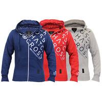 Mens Sweatshirt Crosshatch Hooded Top Zip Print Fleece Lined Casual Summer New