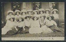 OR Dallas RPPC 1908 14 CUTE MERRY WIDOWS TEENAGE GIRLS POSING in LARGE HATS