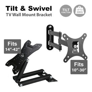 Tilt Swivel TV Wall Mount Bracket LCD LED Monitor 14,21,22,27,32,42 VESA 100 200