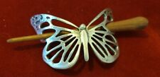 Butterfly Metal And Wood Hair Slide Beautiful Vgc