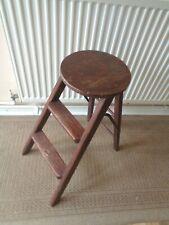 VINTAGE ANTIQUE WOODEN FOLDING STEP STOOL SEAT