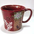 Starbucks Coffee Red Embossed Christmas Snowflake Ceramic Mug 12 oz.