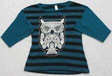 Sweater Medium 7-9 No Boundaries Womens Long Sleeve Top Polyester Rayon Owl Logo