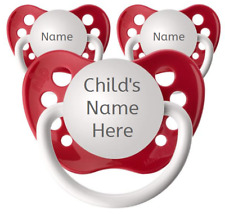 3 Red Personalized Pacifiers - Ulubulu - Name Dummy - Set of 3 Baby Binkies