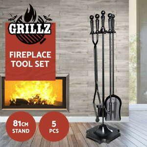 Grillz Fireplace Tool Set Fire Place Tools Poker Brush Shovel Stand Tongs 5 PCS