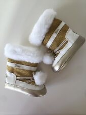 New Juicy Couture Baby Girls Gold White Faux Fur Boots Crib Shoes Sz 3 (6/9M)