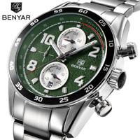 BENYAR 30m Waterproof Stainless Steel Band Men Business Army Quartz Wrist Watch