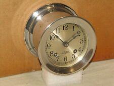 Chelsea Vintage Ships Bell Clock ~3 3/4 Inch~Nickel Plate~1936~Restored