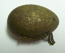Vintage Sewing Thimble Case Holder - Embossed Brass ? Egg Shaped