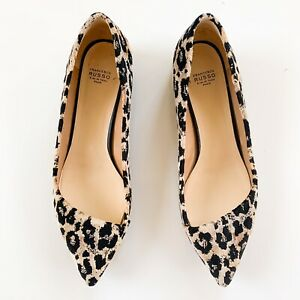 Francesco Russo Velvet Ballerina Leopard Asymetric Flats, Retail $670, Size 10.5