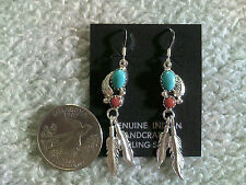 Turquoise & Red Coral Earrings in Sterling Silver w/Double Feathers & French Wir