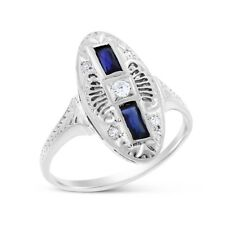 Ring In Solid 18k White Gold 0.28 Ct. Natural Diamond & Sapphire Fashion