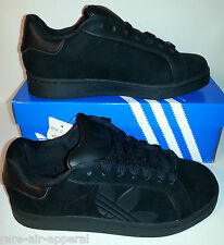 ADIDAS ORIGINALS TREFOIL MASTER CLASSIC SKATE SUEDE ALL BLACK MENS SHOES 8