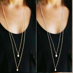 Long Statement Sweater Layered Gold Silver Faux Pearl Necklace Bridal