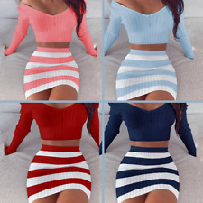 V Neck Top and Skirt Set 2 Piece Crop Striped Bodycon Women Sexy Dress Short HOT