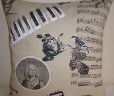 "16"" Copricuscino Nota Musicale Croma Clef SPARTITI MUSICALI Vintage chic Shabby Grigio Talpa"