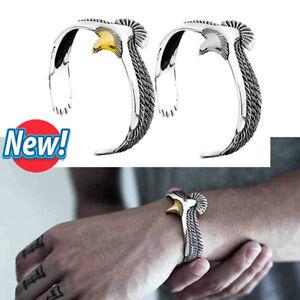 S925 SterlingSilver Eagle Cuff Bracelet Gold Silver 1/2PCS