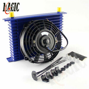 """Universal 15 Row engine Transmission 10AN Oil Cooler + 7"""" Electric Fan Kit BLUE"""