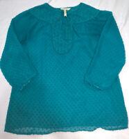 MATILDA JANE Blouse Tunic Swiss Dot Teal Sheer 3/4 Sleeve Medium, EUC