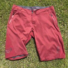 "Mens FOX RACING ATTACK MTB Enduro Downhill Mountainbiking Shorts - Red -Size 36"""