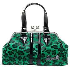 Sourpuss Temptress Green Leopard Print Bag Handbag Rockabilly Retro Purse Punk