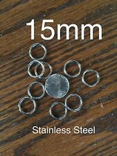 Stainless Steel Key Rings 15mm Split Ring jump rings, Lot 100