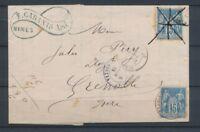 1884 Lettre Sage à 30 c 2*N°90 dont 1 oblitéré à la plume. TB. P2624