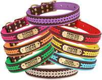 Leather Dog Collar Personalised Braided Brown Top Brass Buckle Soft Padded S M L