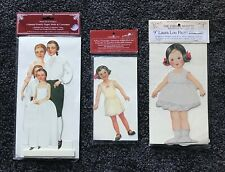 """Paper Doll Sets, Shackman Colonial Family, 9"""" Laura Lou, American, New, Lot of 3"""