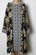 H&M Kleid Gr. 36 schwarz-weiß-cognac 3/4-Arm A-Linie Ethno Muster Kleid