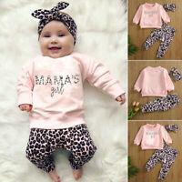3Pcs Newborn Baby Girls Leopard Print Tops+Pants+Headband Sets TrackSuit Jumper