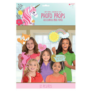 12 x Magical Unicorn Sparkle Party Photo Booth Childs Unicorn Party Photo Props