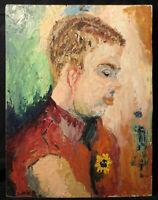Original Oil Painting on Wood Fauvist Portrait ALF Lindberg? Mid Cent. Impasto