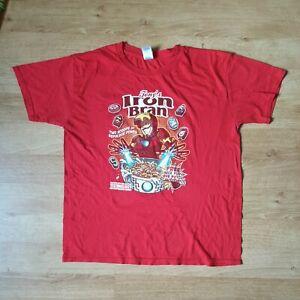 THE AVENGERS Iron Bran Cereal T-Shirt Tony Stark IRON MAN Large L Marvel Comics