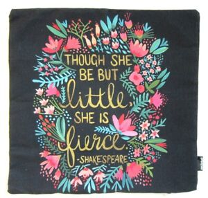 SOCIETY 6 Throw Cushion Cover 40 x 40 cm Shakespeare Quote/Floral Design