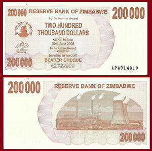 Zimbabwe P49, $200,000 Bearer Cheque, Hwange coal fired power station UNC 2007