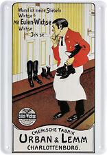 Cartolina Postale in lamiera pubblicità con loghi GUFI tà Scarpa Crema fabbrica chimica Urban & LEMM