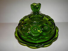 Vintage Green Glass Moon And Star Covered Candy Or Cheese Dish