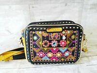 Nicole Lee USA Black and Gold Embroidered Tote Small Cross Body Shoulder Bag