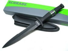 SCHRADE Tactical Black Serrated Fixed Blade NEEDLE BOOT Knife + Sheath! SCHF44LS