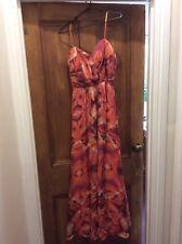 Truese 100% silk maxi dress, size 12, New with tags. Sunset orange colour scheme