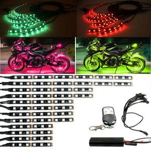 For Harley Davidson 12pcs Motorcycle ATV RGB LED Neon Under Glow Light Strip Kit