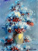 Abstract flowers in snow blue red white floral painting winter / still life oil