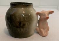 Antique Vintage German Pink Pig Boston Baked Beans Bisque Toothpick Holder 1900